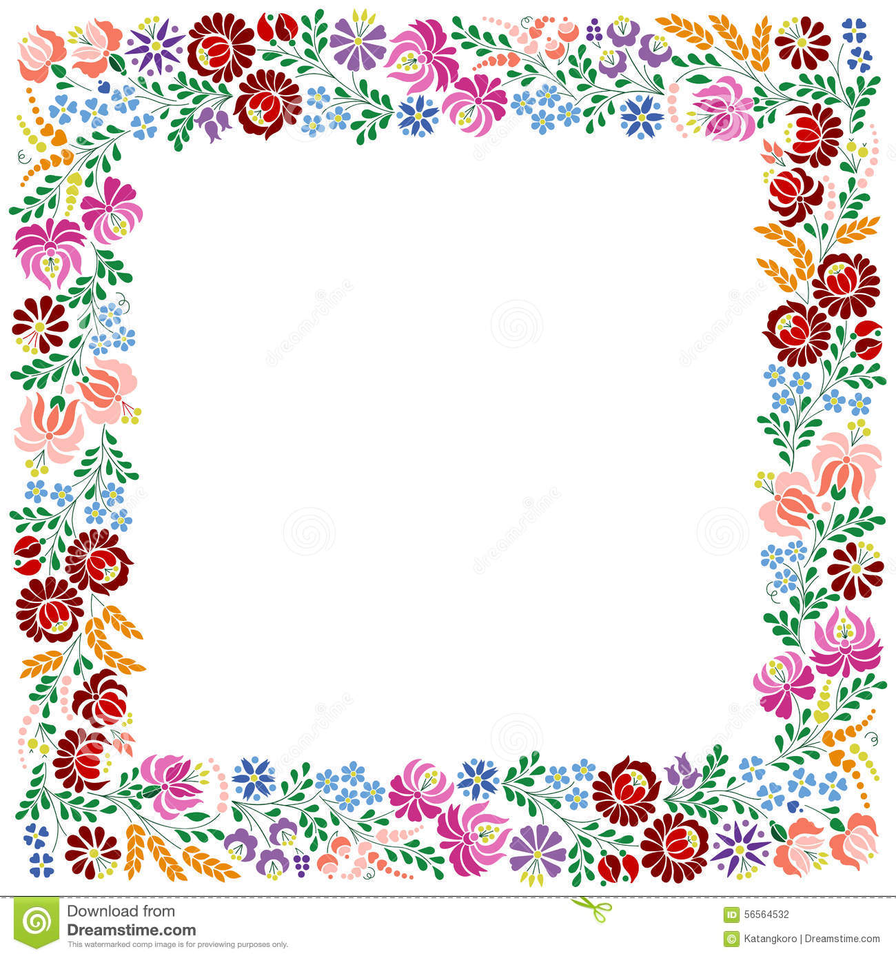 Colorful Square Frame Made From Hungarian Embroidery
