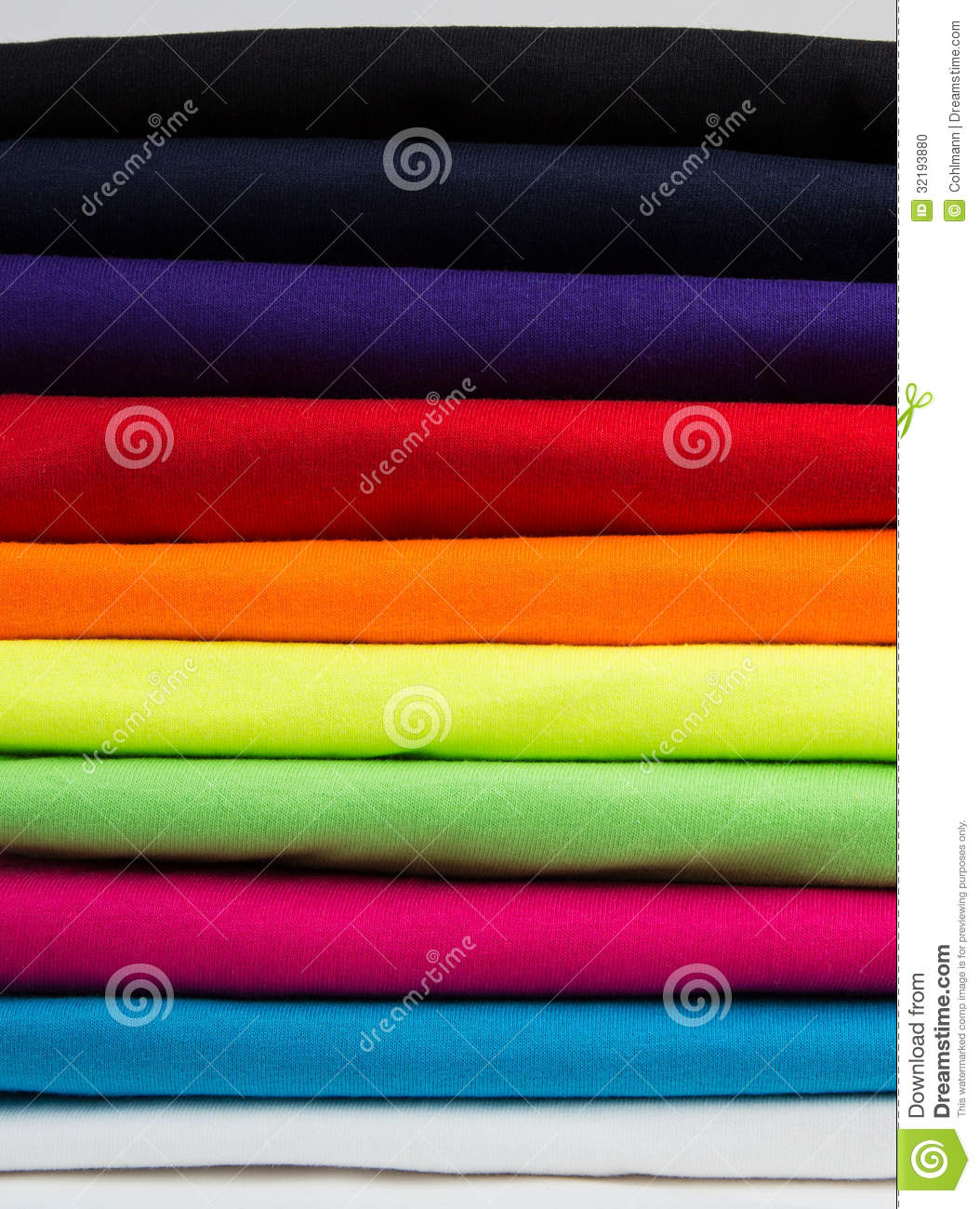 Fold Neat Stack Shirts Colorful stack of clean t-shirts