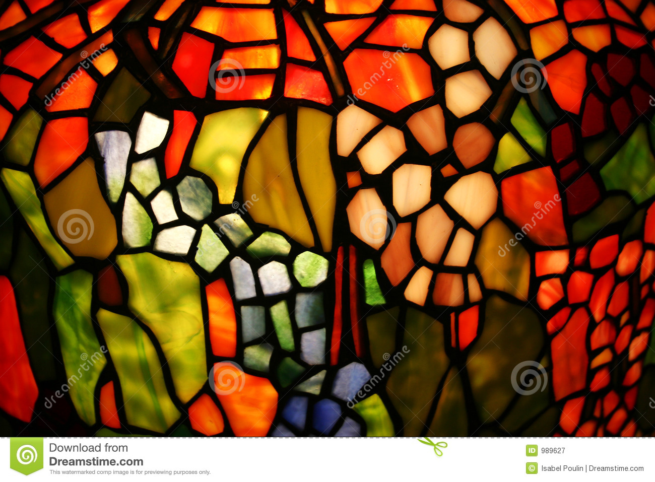 Colorful Stained Glass Stock Image. Image Of Close, Green