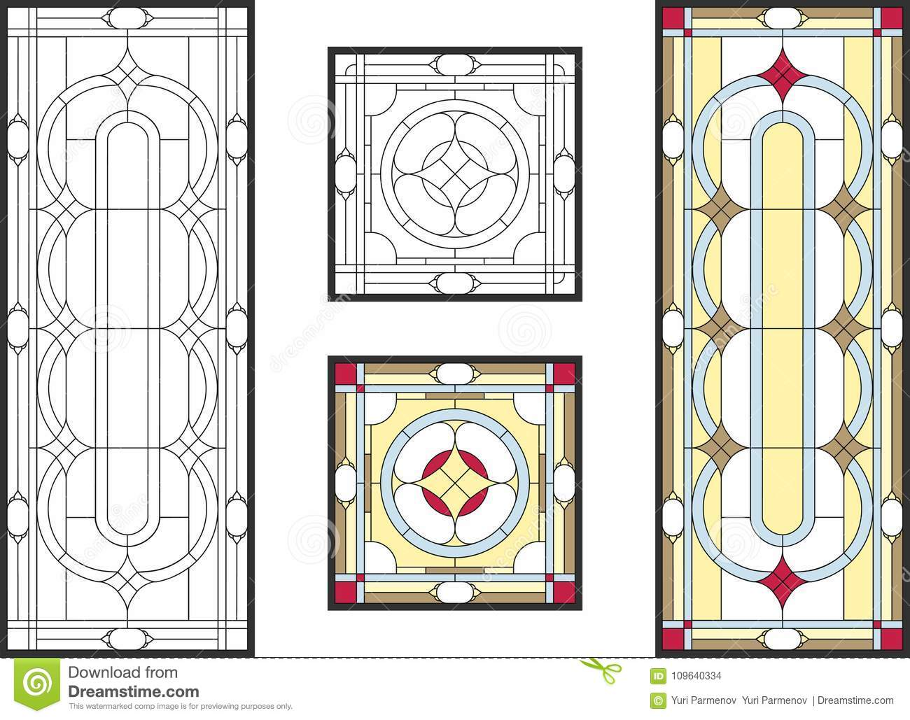 Colorful Stained Glass Window In Classic Style For Ceiling Or Door