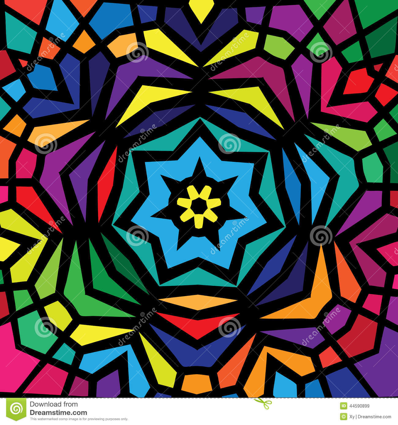Colorful Stained Glass Window Design Stock Vector Image
