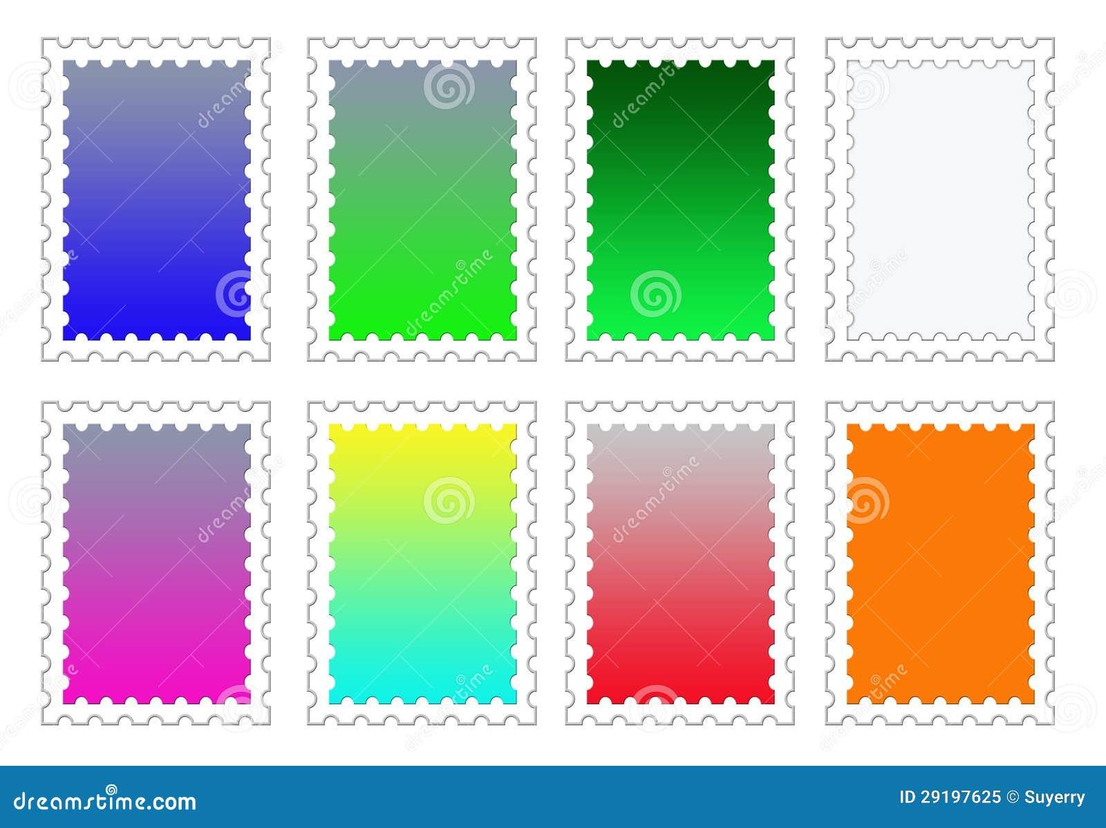 colorful stamp backgrounds set png stock illustration