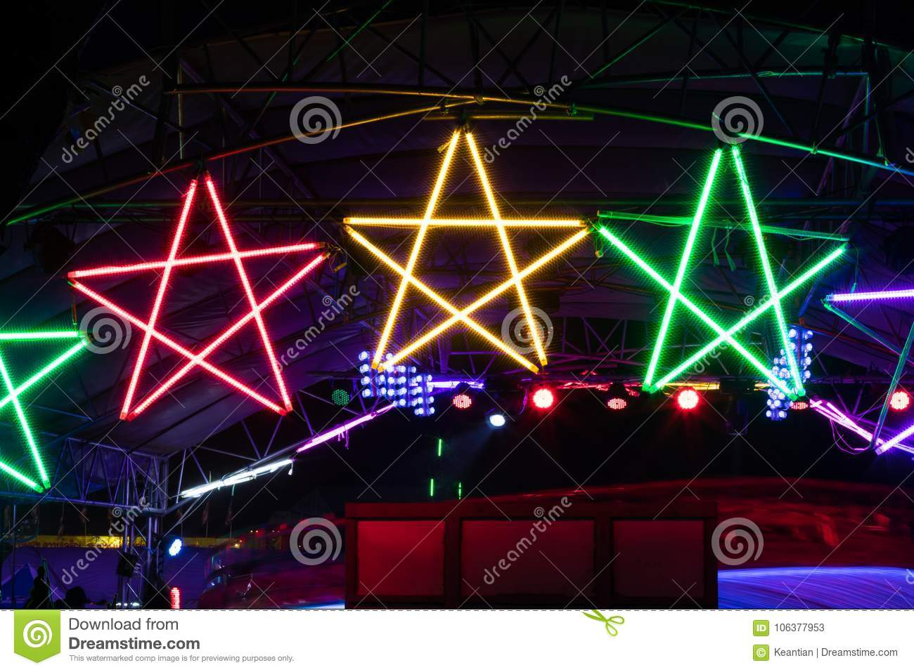 Colorful Star Light Bulb At Night Stock Image Image Of Lamp
