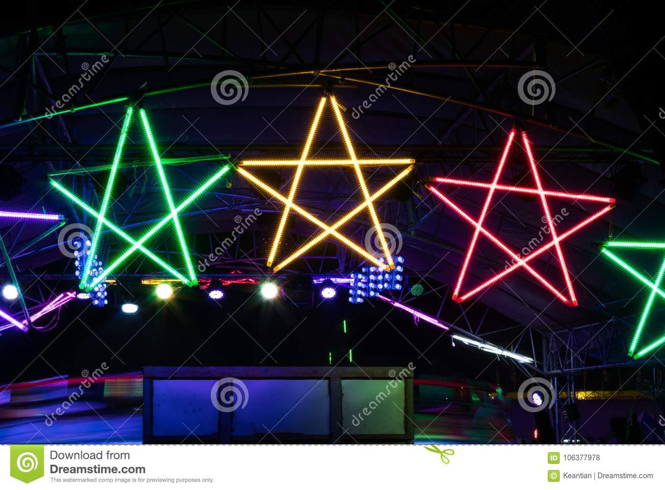 Colorful Star Light Bulb At Night Stock Photo Image Of Night