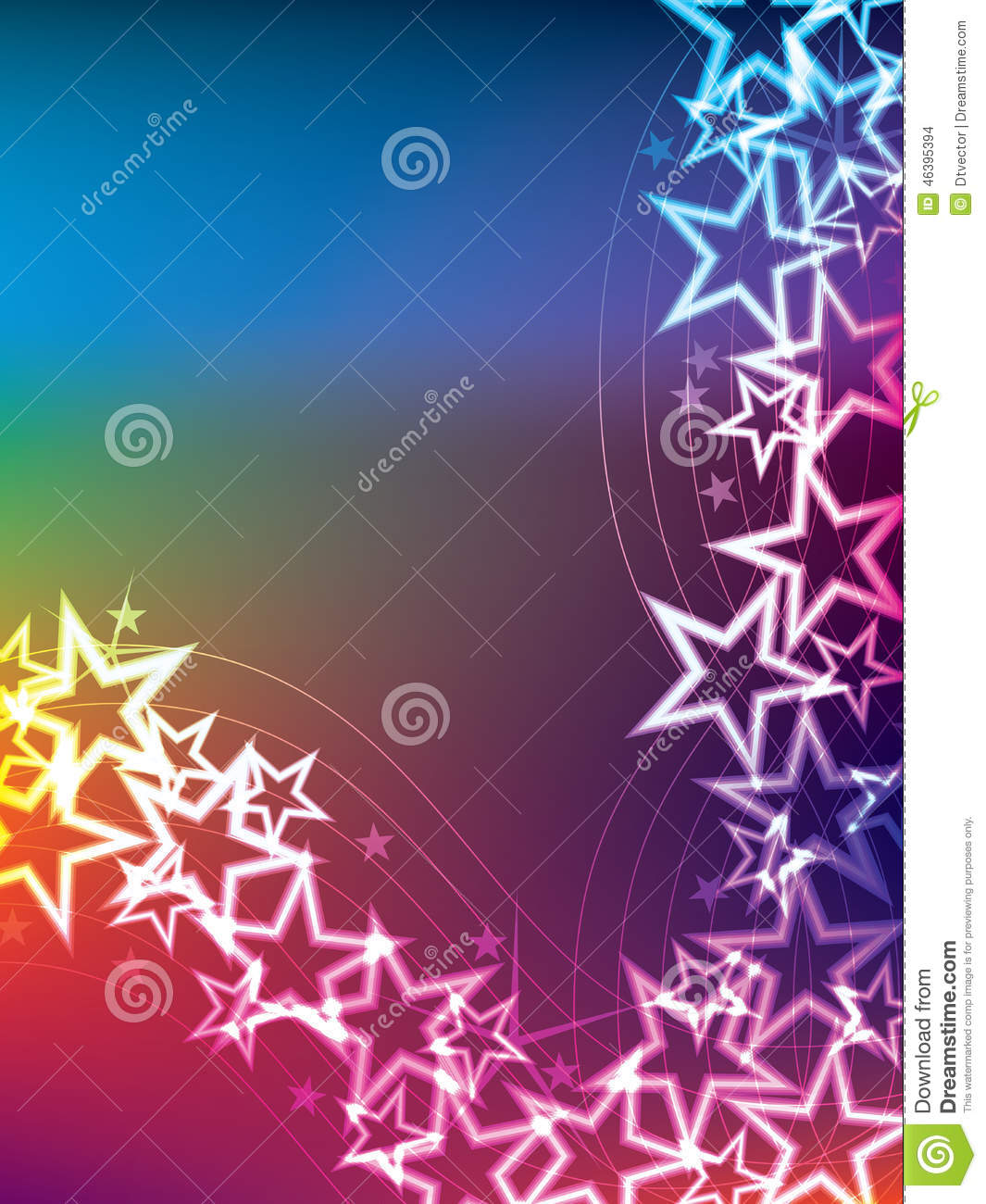 Colorful Star Line Side Stock Vector