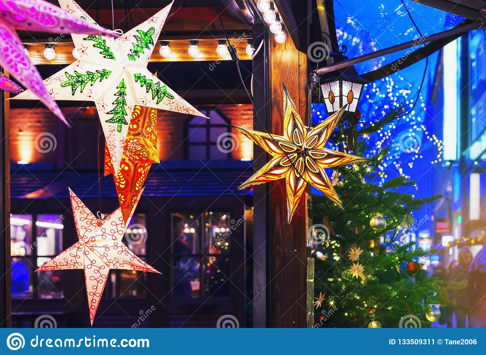 Colorful Stars For Sale At Christmas Market Stock Image