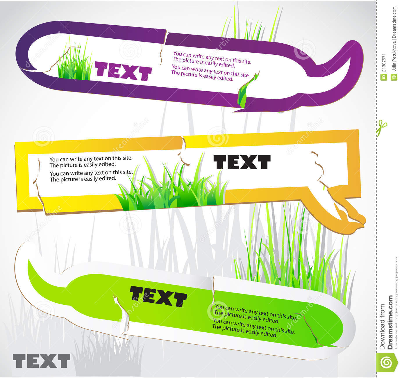 Colorful stickers for speech. Green grass.