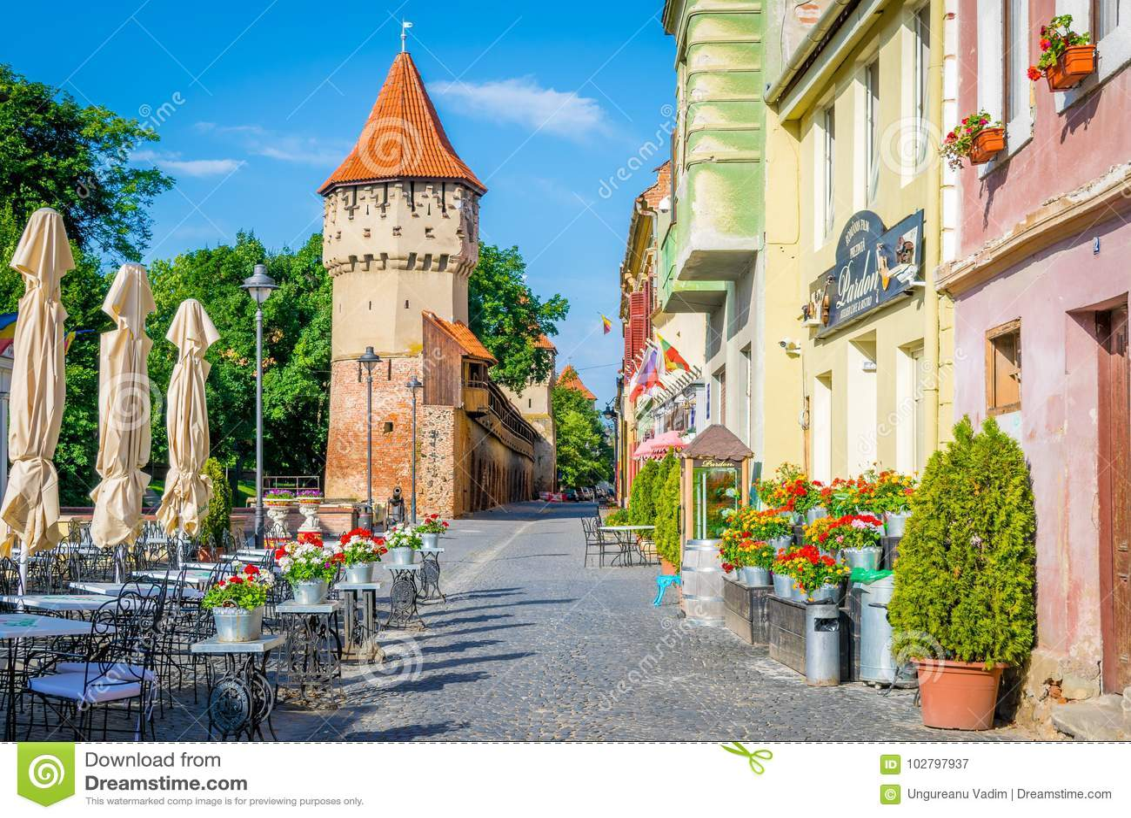 Colorful street in Sibiu in the morning, Transylvania region, Romania