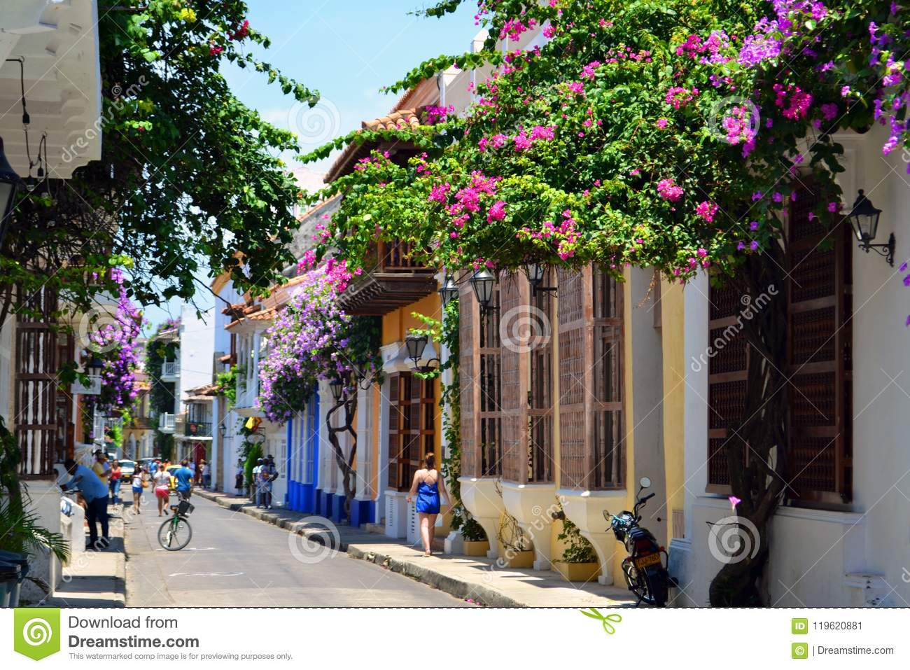 Colorful streets in Cartagena Colombia