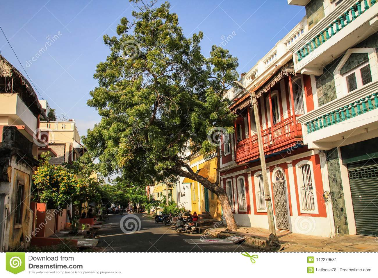 Colorful Streets Of Pondicherry`s French Quarter, Puducherry, India