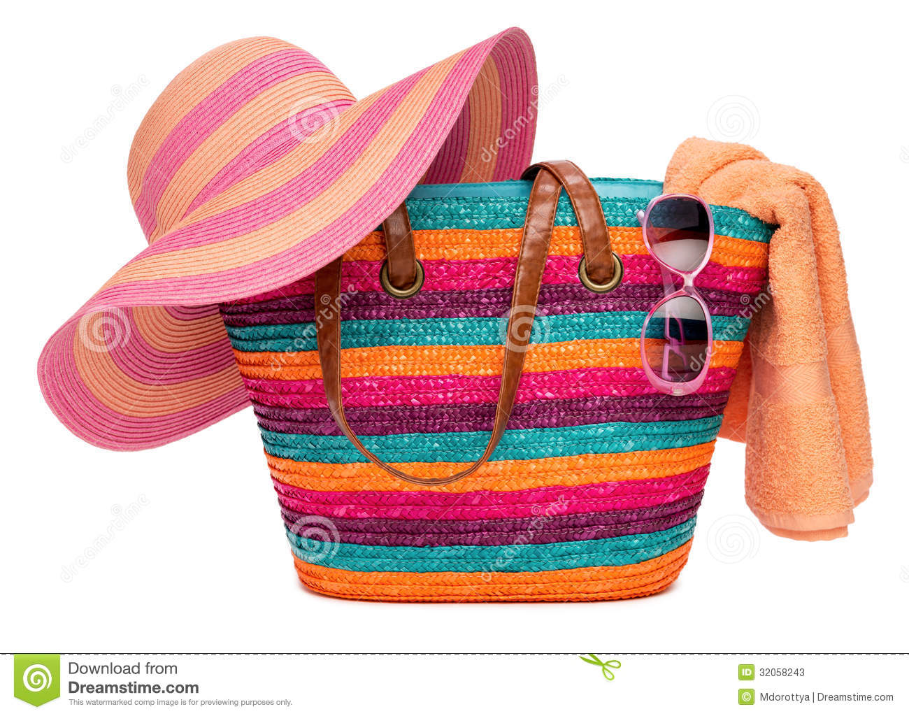 Straw Bag And Towel At Beach Stock Photos - Image: 34729663