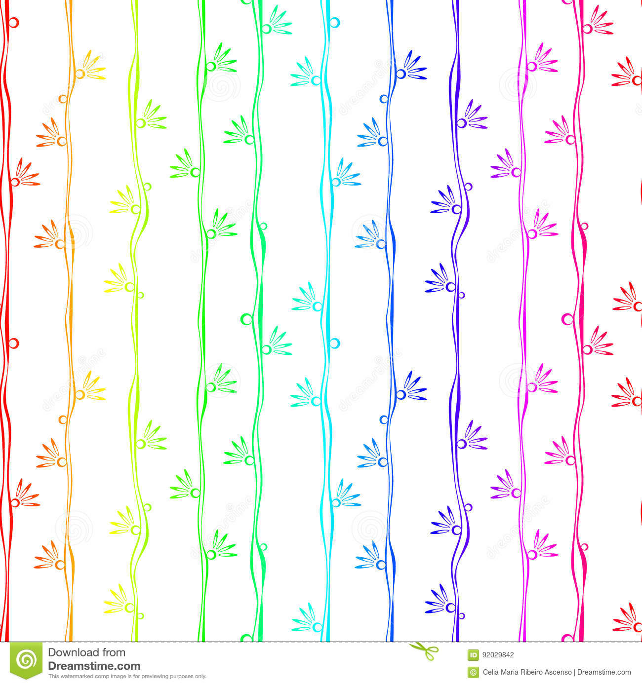Colorful stripes with flowers seamless background