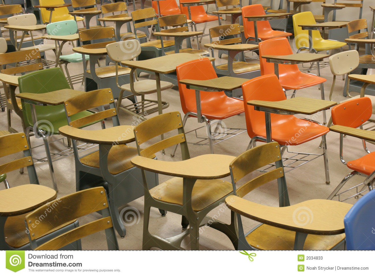 colorful old school desks in a classroom