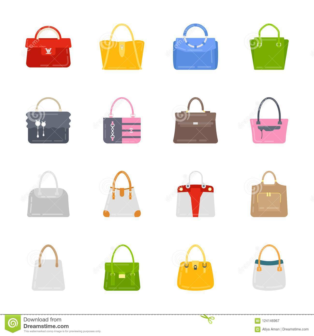 68c7816237b Ladies purses icon set stock illustration. Illustration of purse ...
