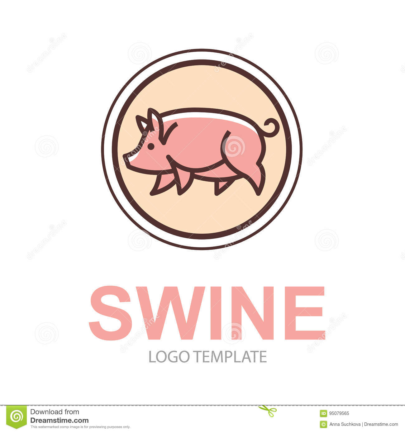colorful stylized drawing of pig stock vector illustration of