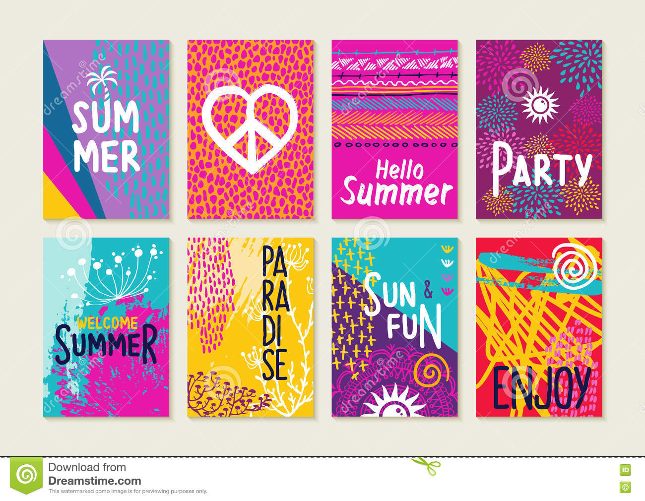 Colorful Summer Card Set With Beach Illustrations Stock
