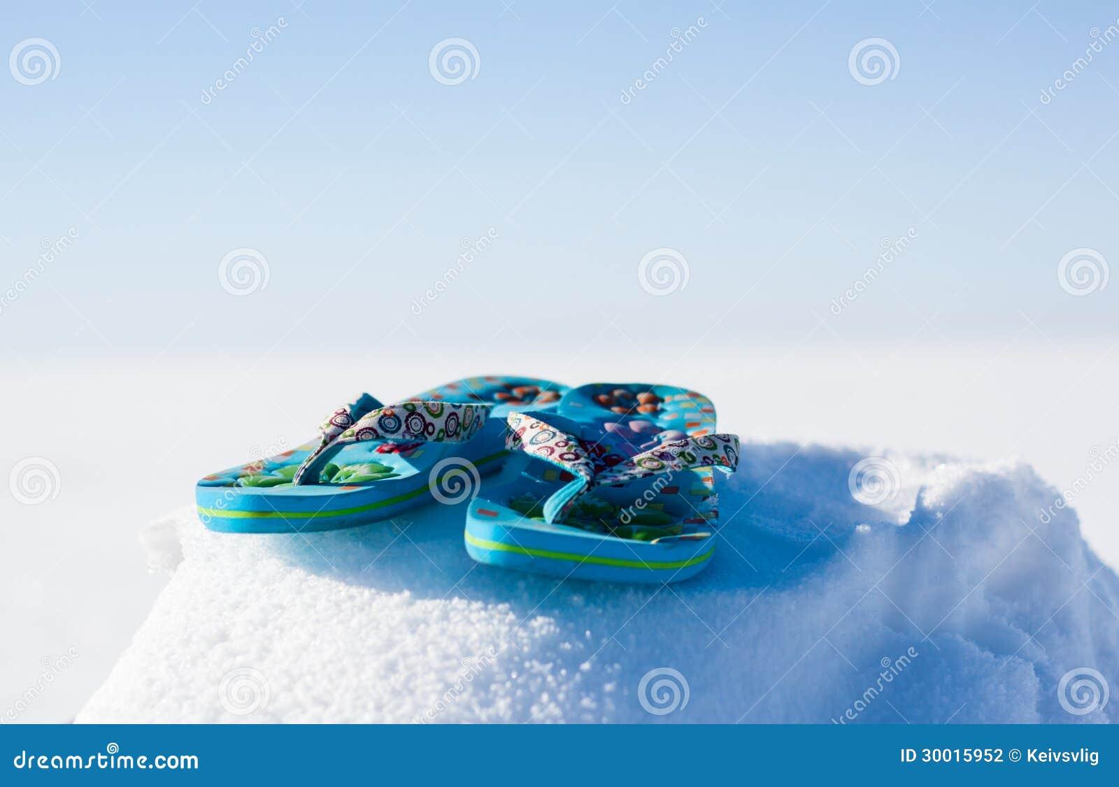 1a5474f781dc7 Flip flops snow stock photo. Image of blue