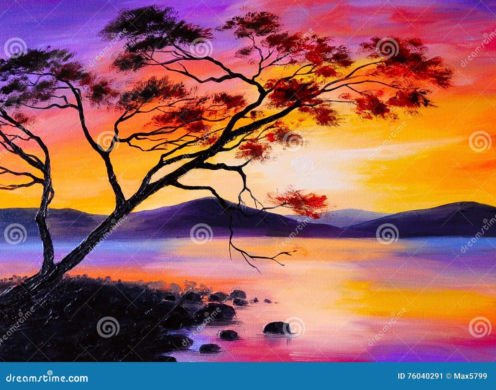 Easy Sunset Oil Painting