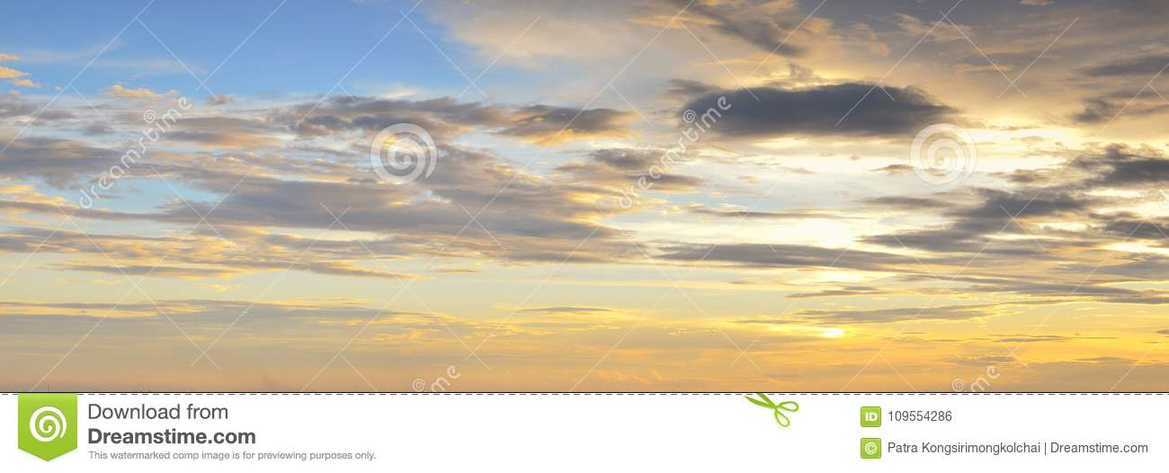 Colorful sunset sky with clouds in twilight time