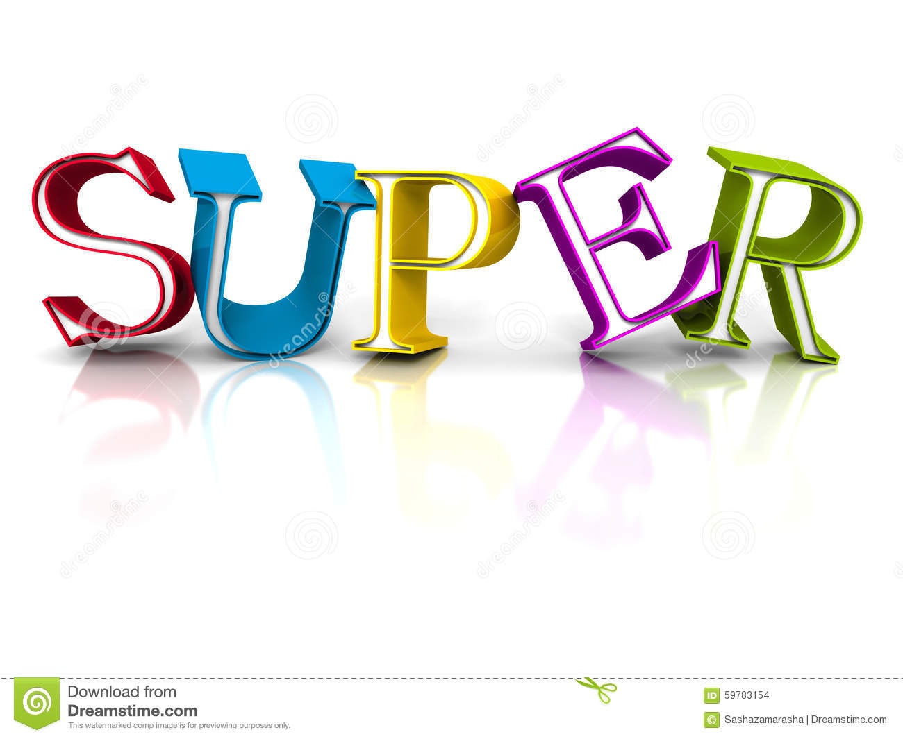 Colorful Super Word Letters On White Background Stock Images