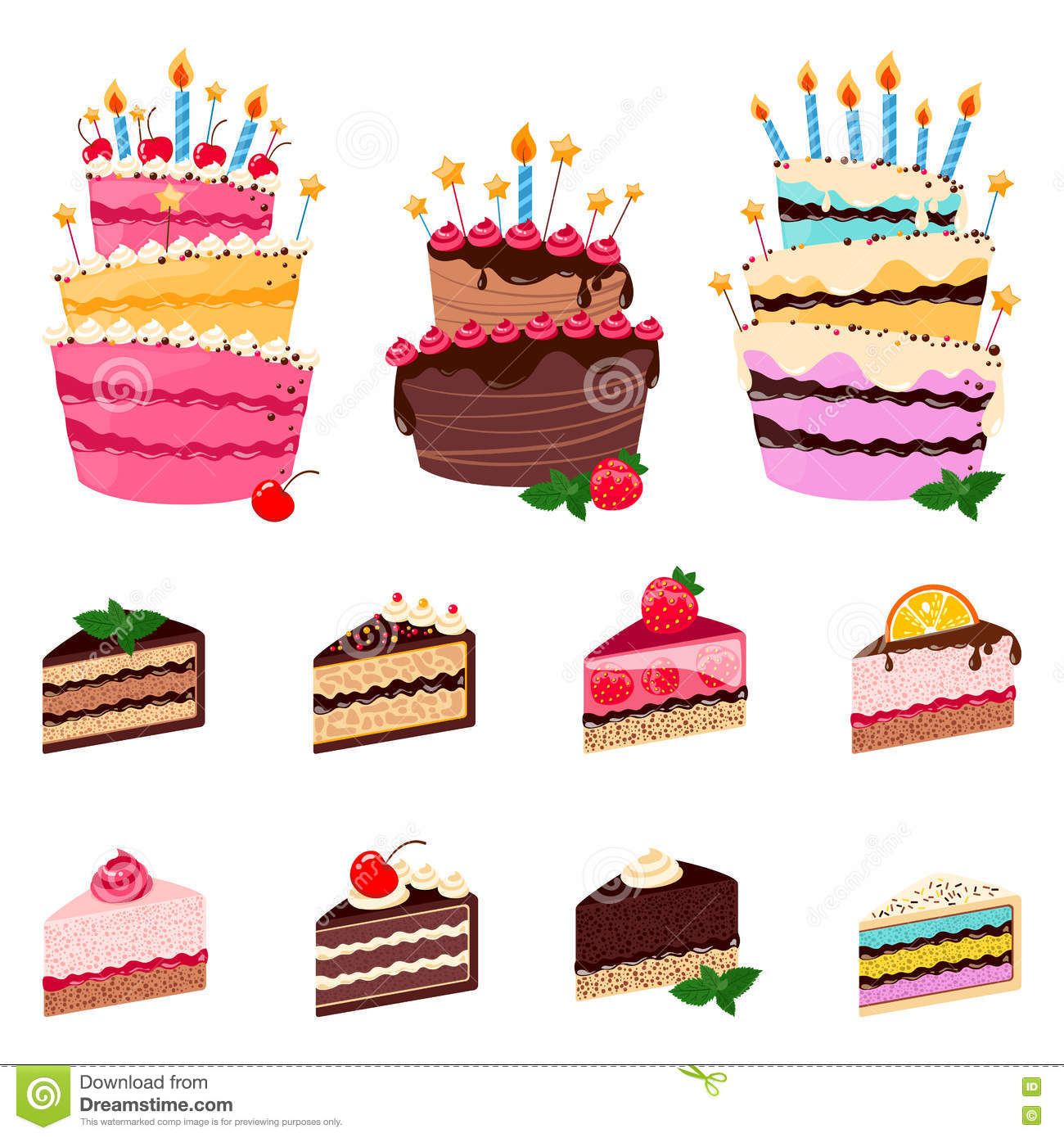 Colorful Sweet Cakes And Cakes Slices Pieces On White