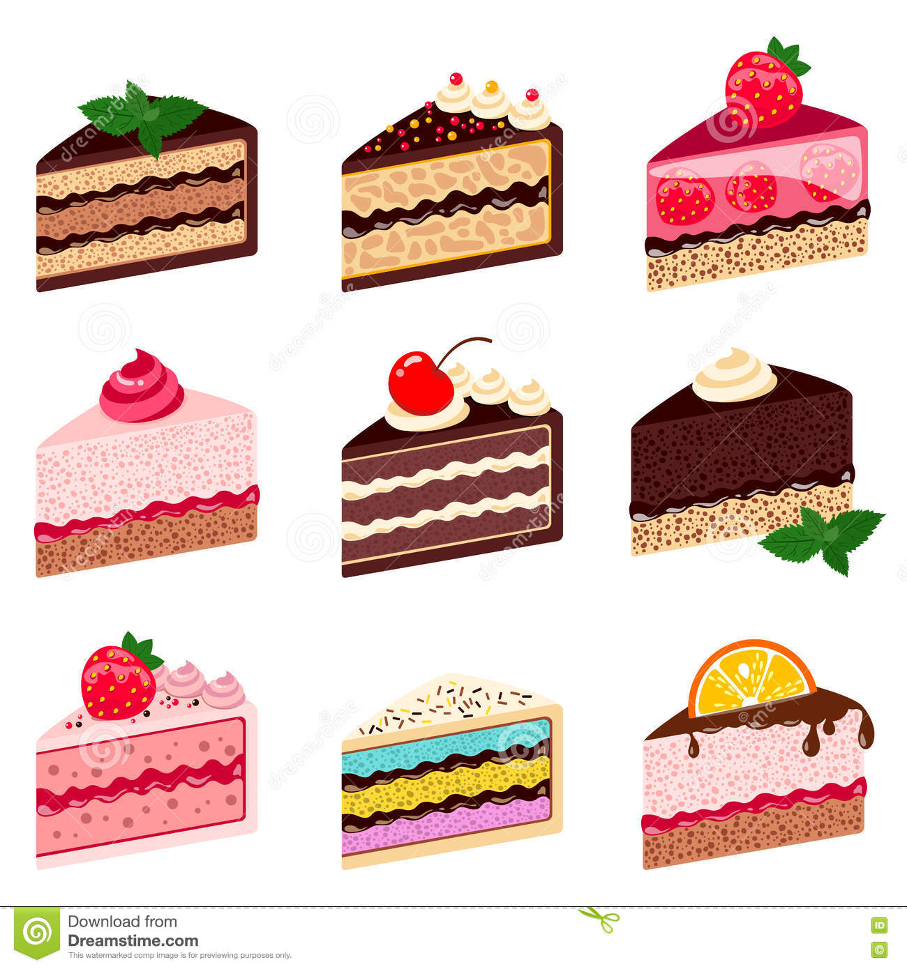Colorful Sweet Cakes Slices Pieces On White Background Stock