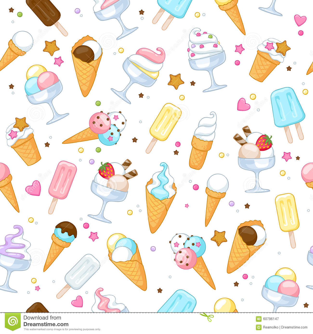 Summer Ice Cream Wallpaper: Colorful Sweet Ice Cream Icons Background Stock Vector