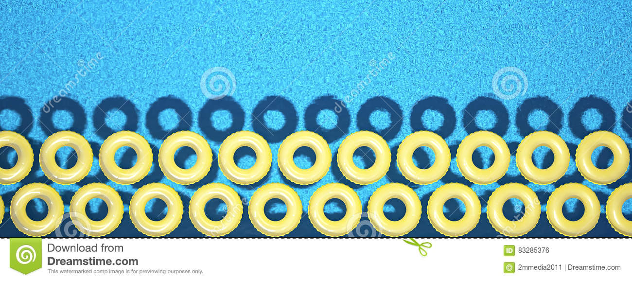 Colorful swim ring isolated in swimming pool. 3d rendering
