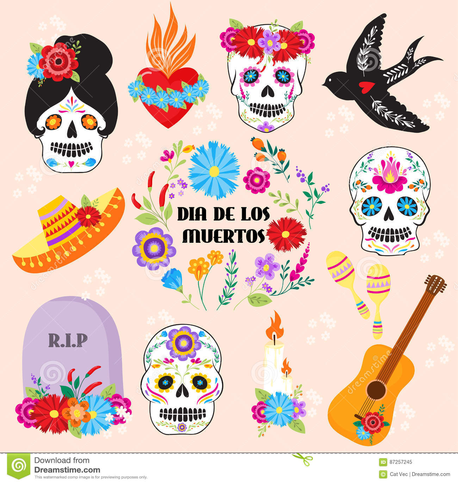 Colorful Symbols For Dia De Los Muertos Day Of The Dead Vector