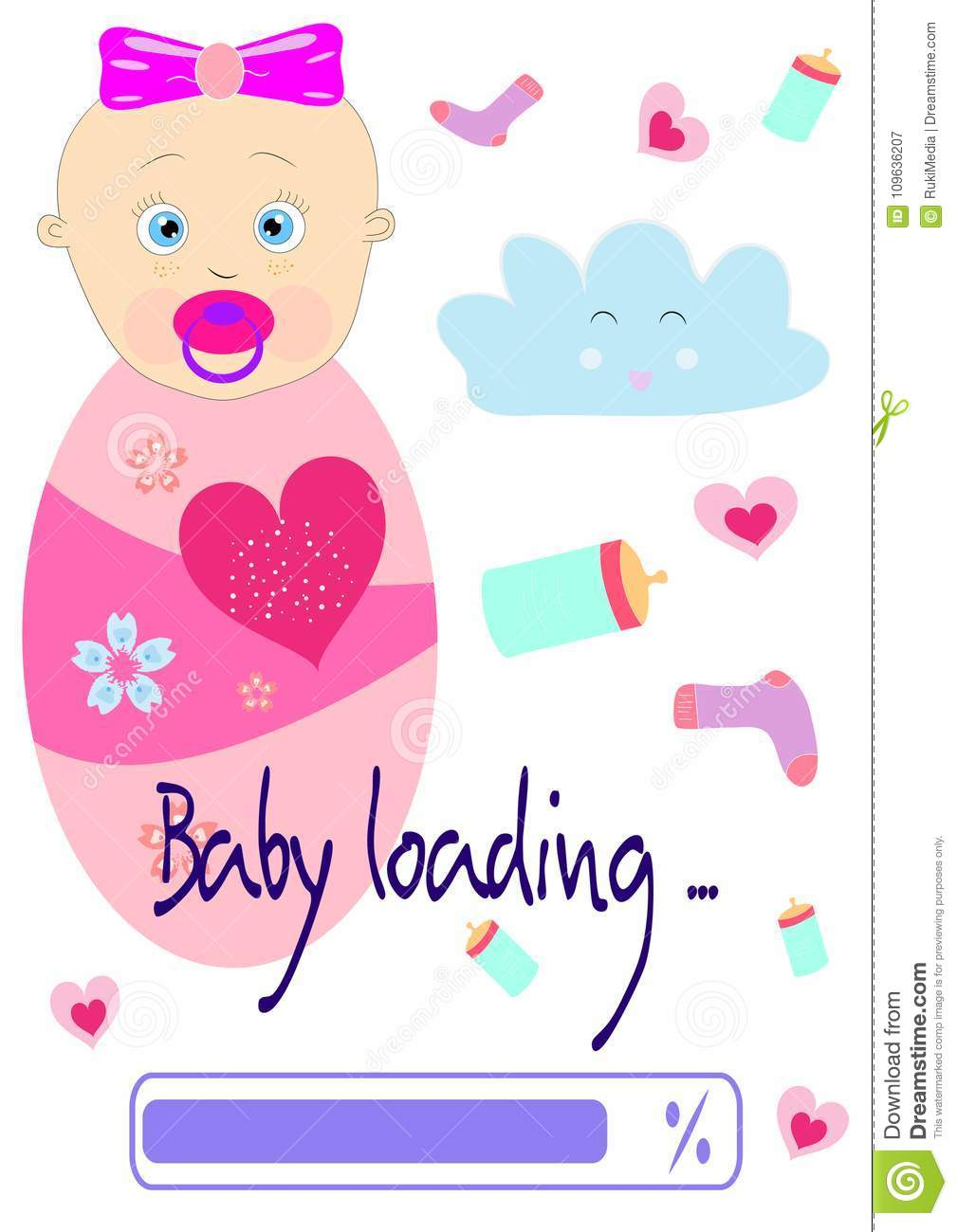 Colorful T Shirt Graphic Design With Baby Loading Text Stock