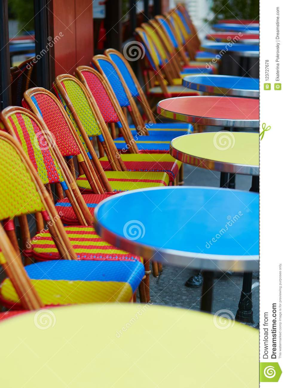 Colorful Tables And Chairs Of Outdoor Cafe In Paris Stock Photo Image Of City Table 123727678