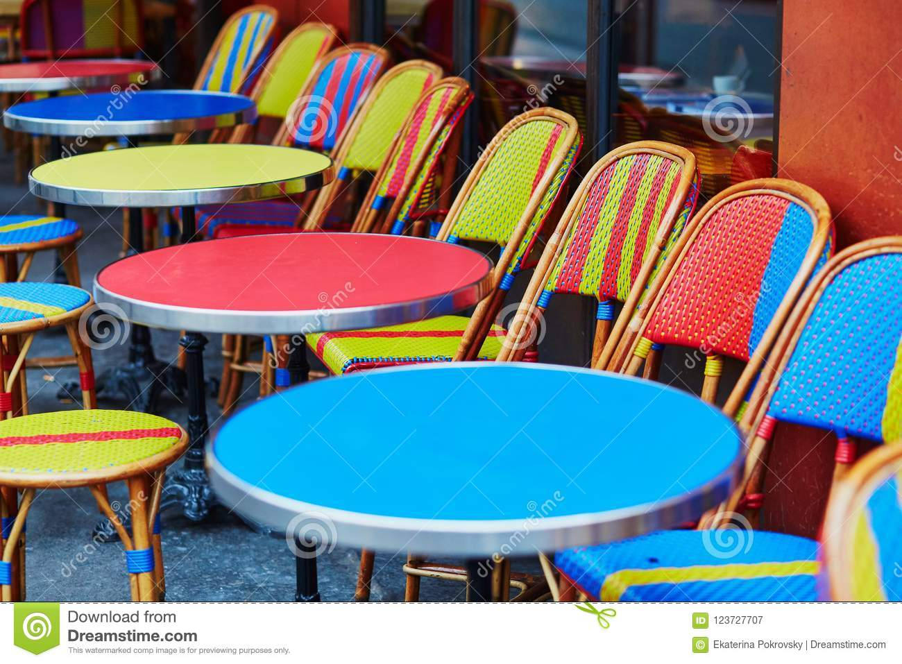 Colorful Tables And Chairs Of Outdoor Cafe In Paris Stock Image Image Of Color Bright 123727707