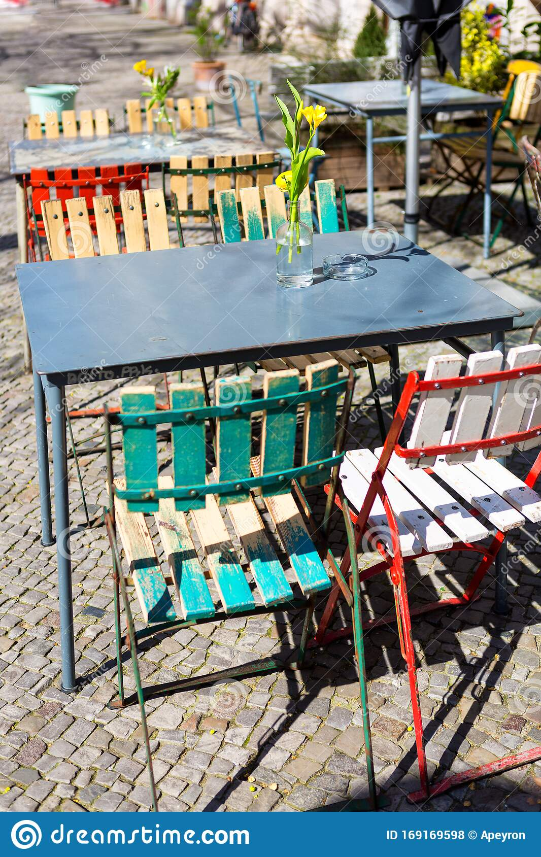 Colorful Tables And Chairs On The Street Stock Photo Image Of Sunny European 169169598
