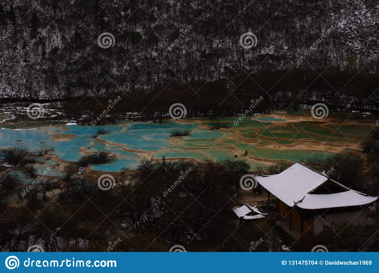 Colorful talpatate ponds after the first snow