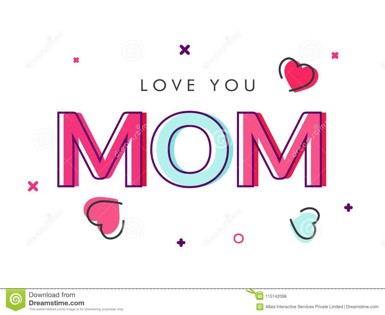 Colorful Text Love You Mom. Stock Illustration - Illustration of ...