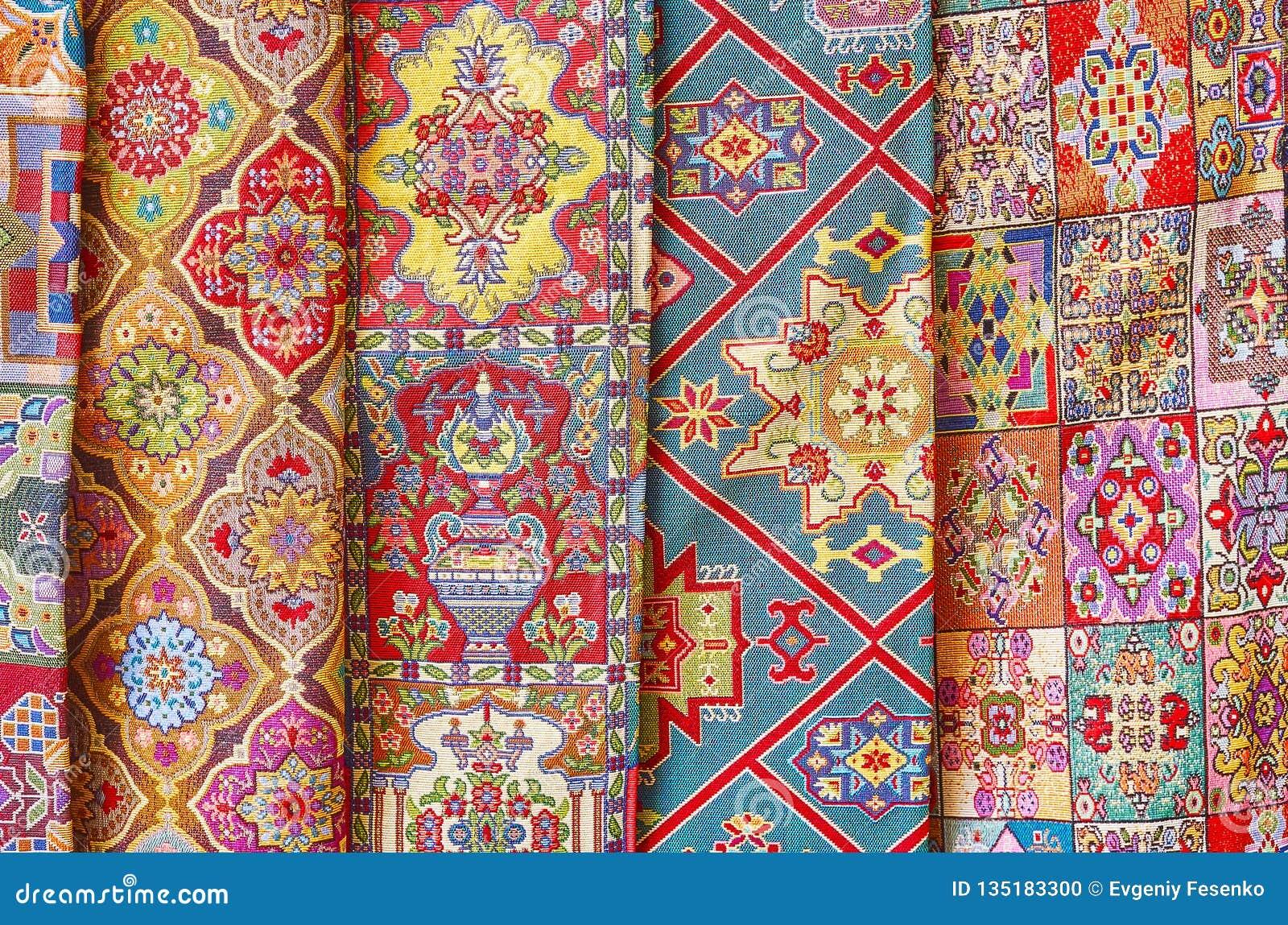 Beautiful Fabrics In Chahar Souk Bazaar, Yad, Iran Stock