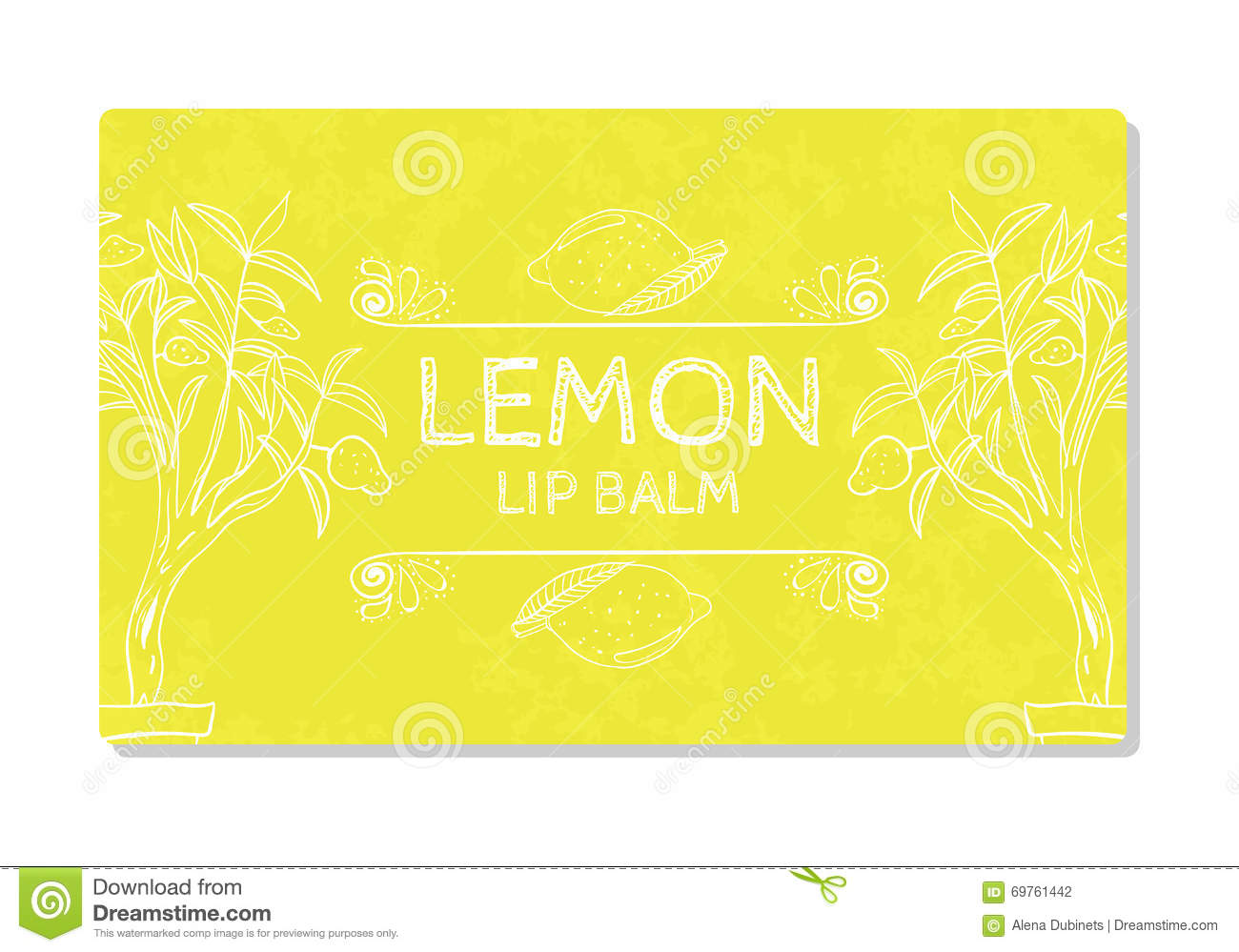 Colorful textured label, sticker for cosmetic products. Packaging design lipstick lemon. Vector