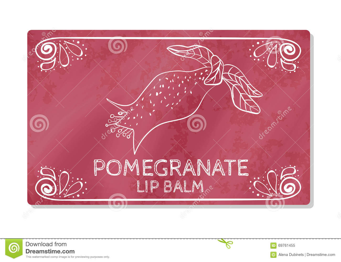 Colorful textured label, sticker for cosmetic products. The packaging design of the lipstick with the taste of pomegranate. Vector