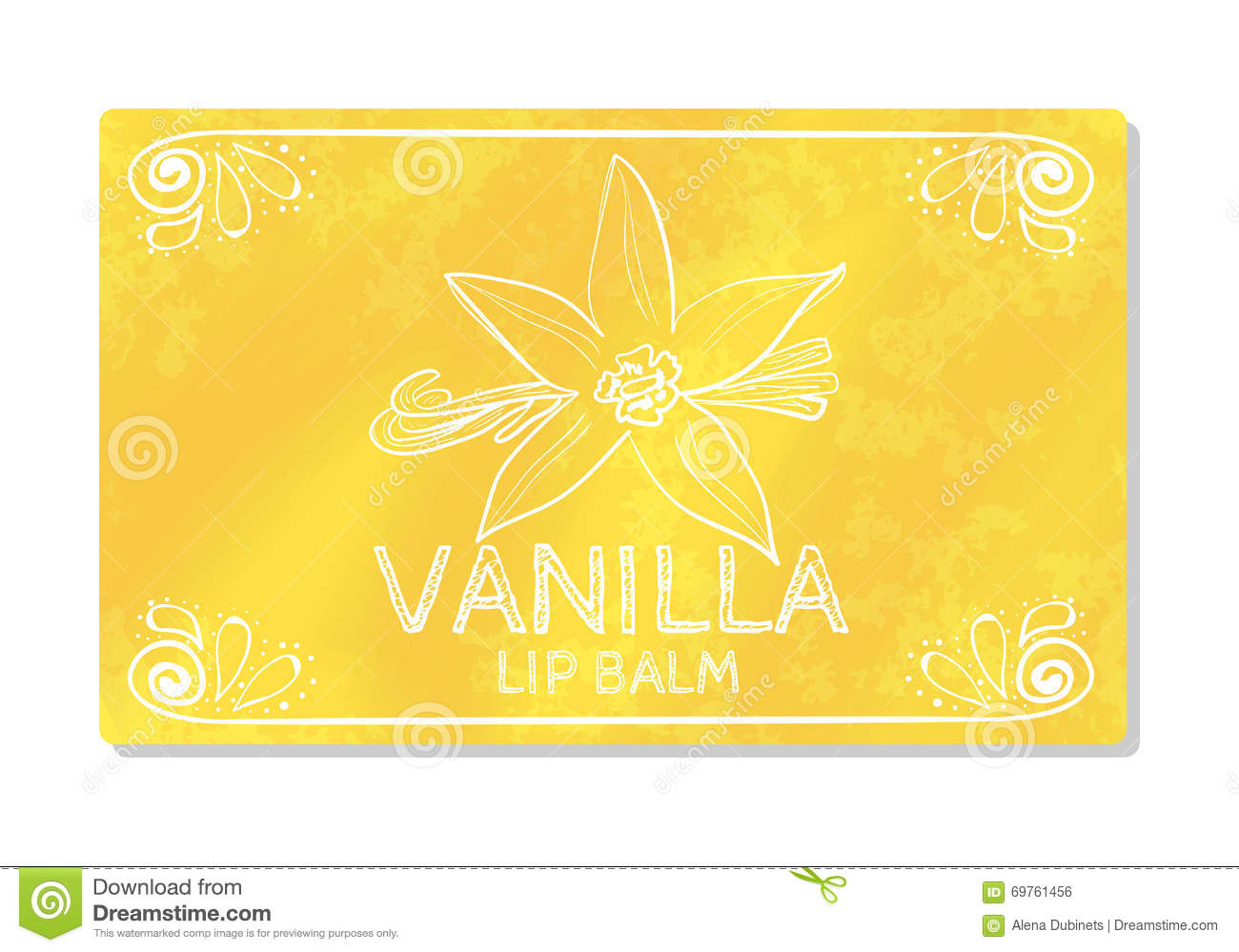 Colorful textured label, sticker for cosmetic products. Packaging design lipstick the taste of sweet vanilla. Vector