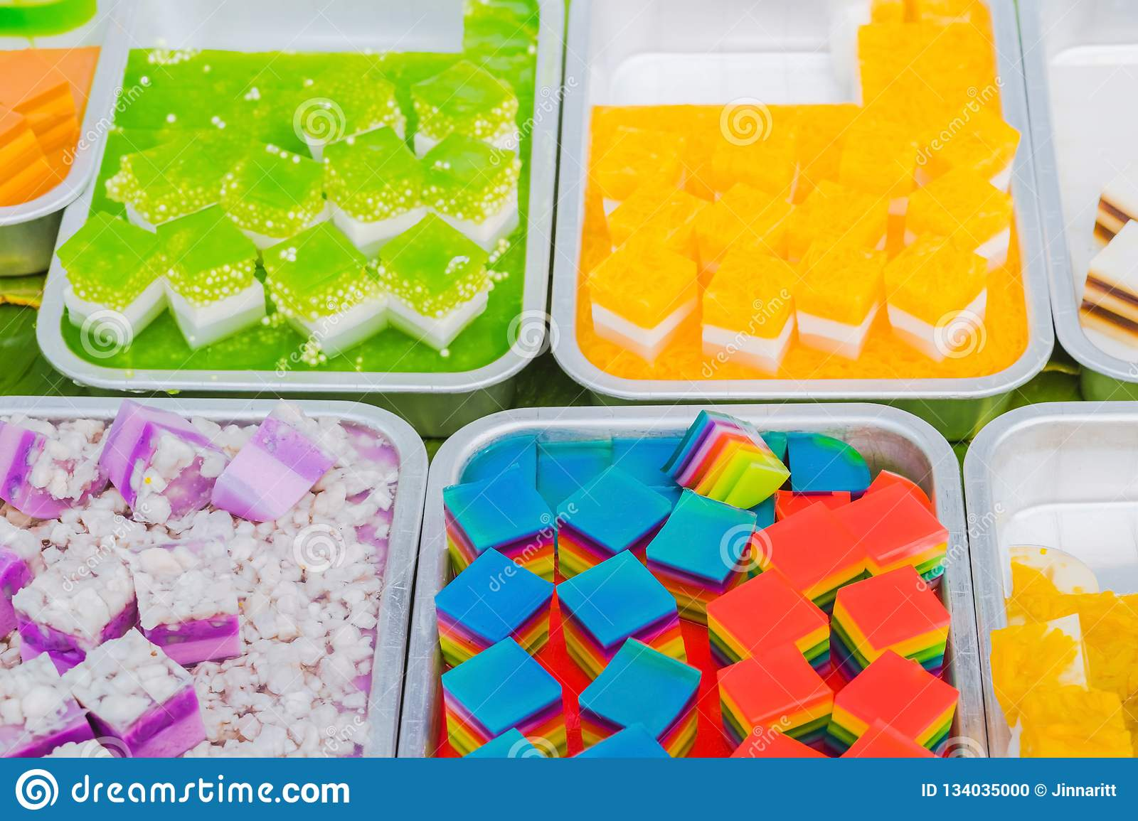 Colorful of Thai Jelly on aluminum tray for sale in street food
