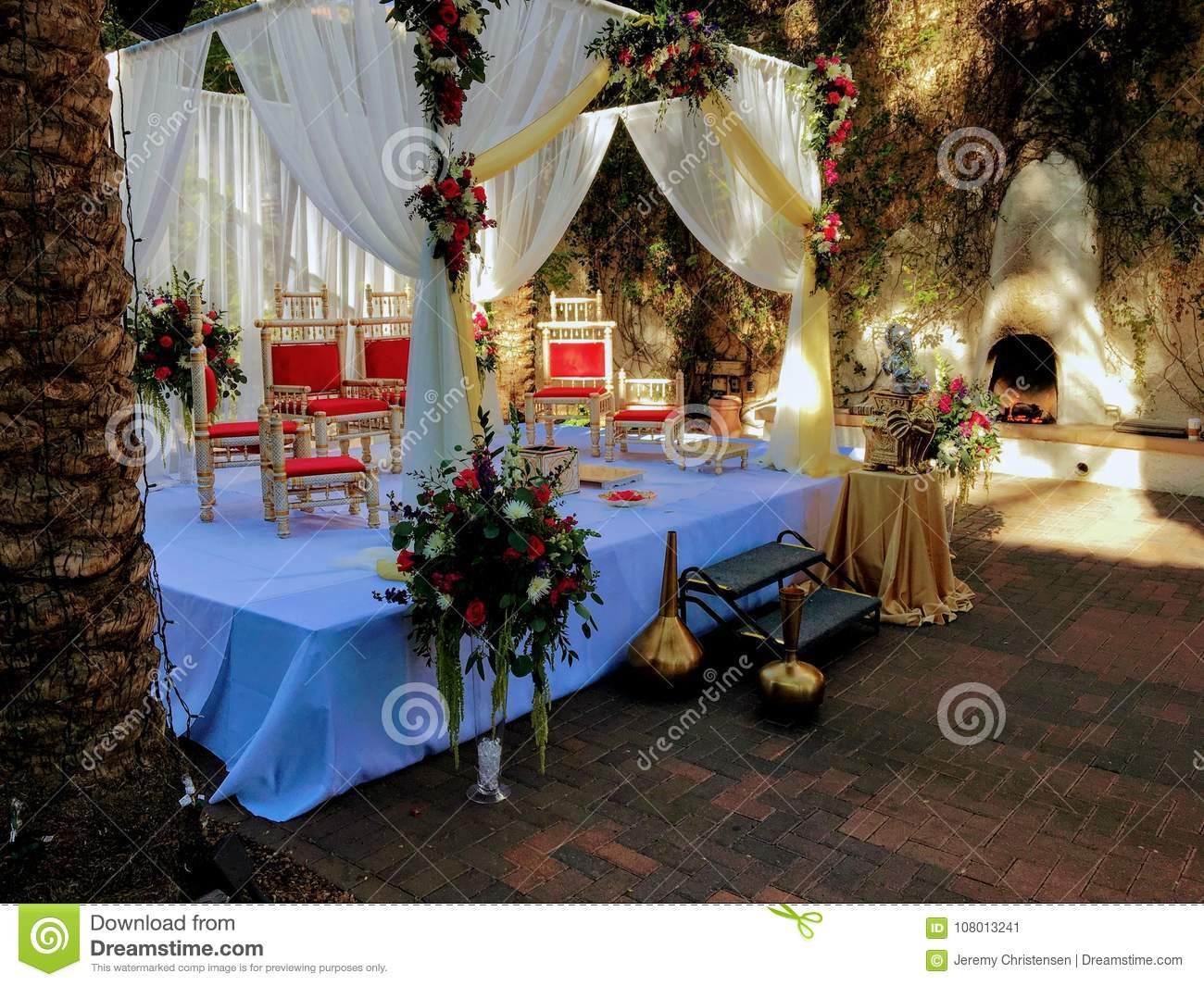 Colorful Themed Wedding Stage And Chairshindu Traditional Wedding