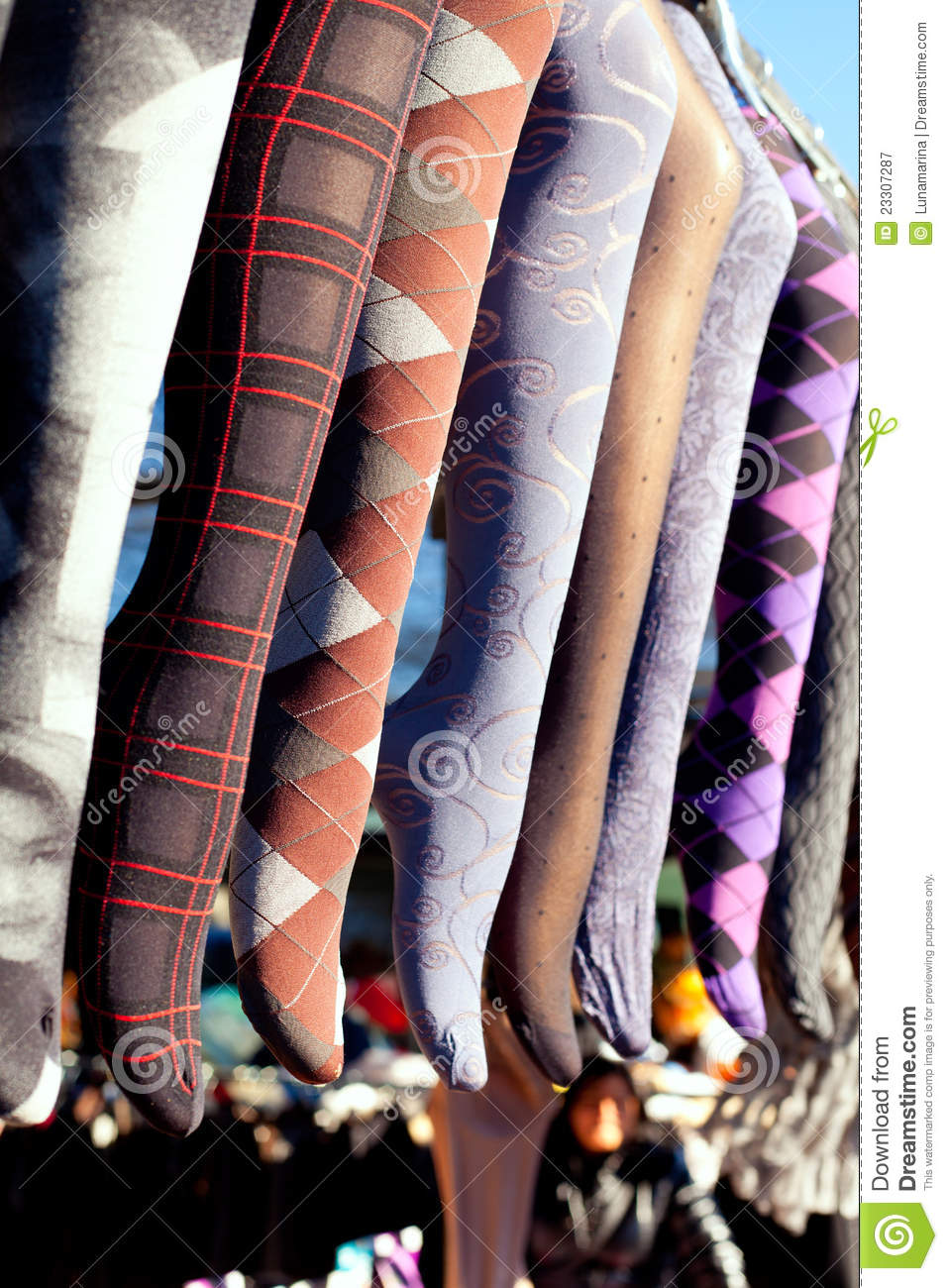 colorful tights in a row hanging in market royalty free stock photography image 23307287. Black Bedroom Furniture Sets. Home Design Ideas
