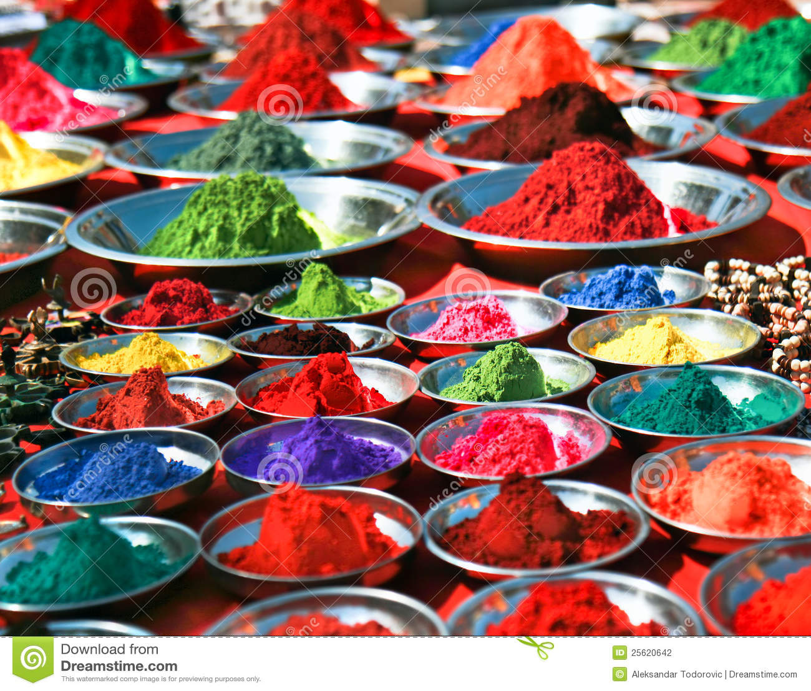 Colorful tika powders on indian market, India