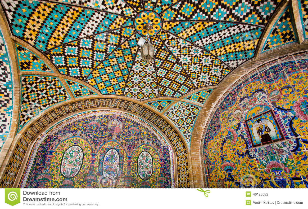 Colorful Tiled Ceiling Of The Historical Terrace Stock