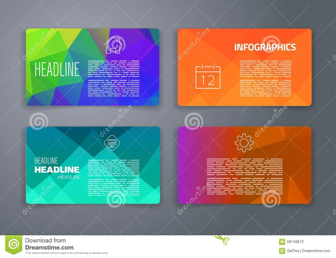 Colorful tiles templates for web ui and pring stock for Web design tile layout