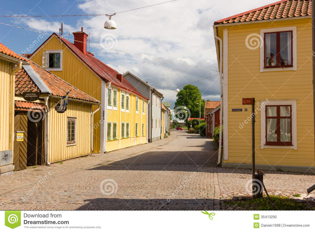 Colorful Timber Buildings Vadstena Sweden Editorial