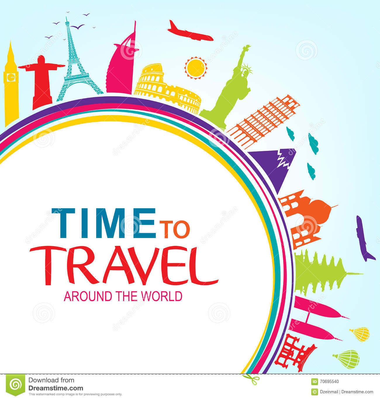 Colorful time to travel around the world with space for for Around the world cruise