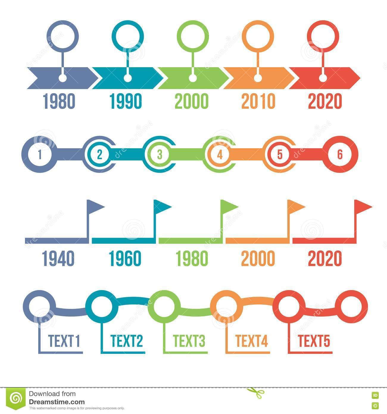 Colorful Timeline Infographic Set Stock Vector Image