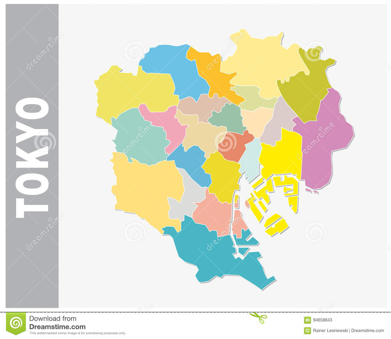 Colorful Tokyo Administrative And Political Vector Map Stock
