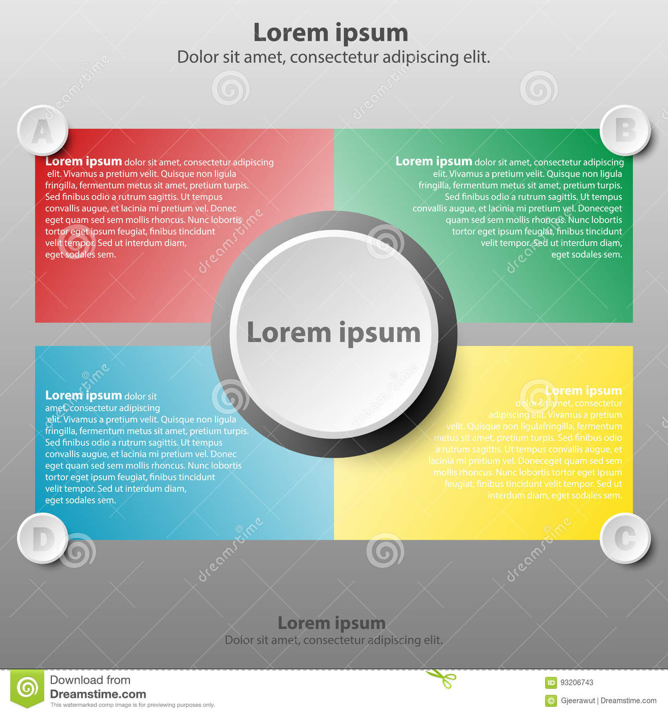 Poster design website - Colorful Topics With 3d Paper Circle In Center Background For Website Presentation Cover Poster Design Infographic